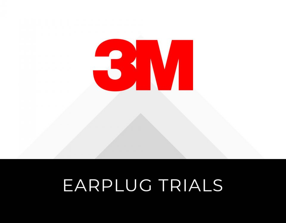"3M logo with gray opaque triangular shapes receding in the background, text in a black box below reads ""Earplug Trials"""